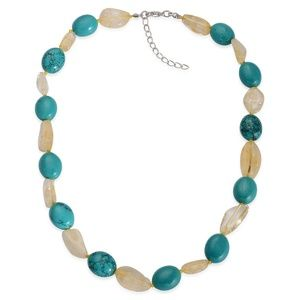 "Citrine & Green Magnesite Necklace  18-20"" NWT"